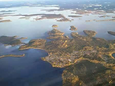 Aerial view of Kenora and surrounding waters and islands