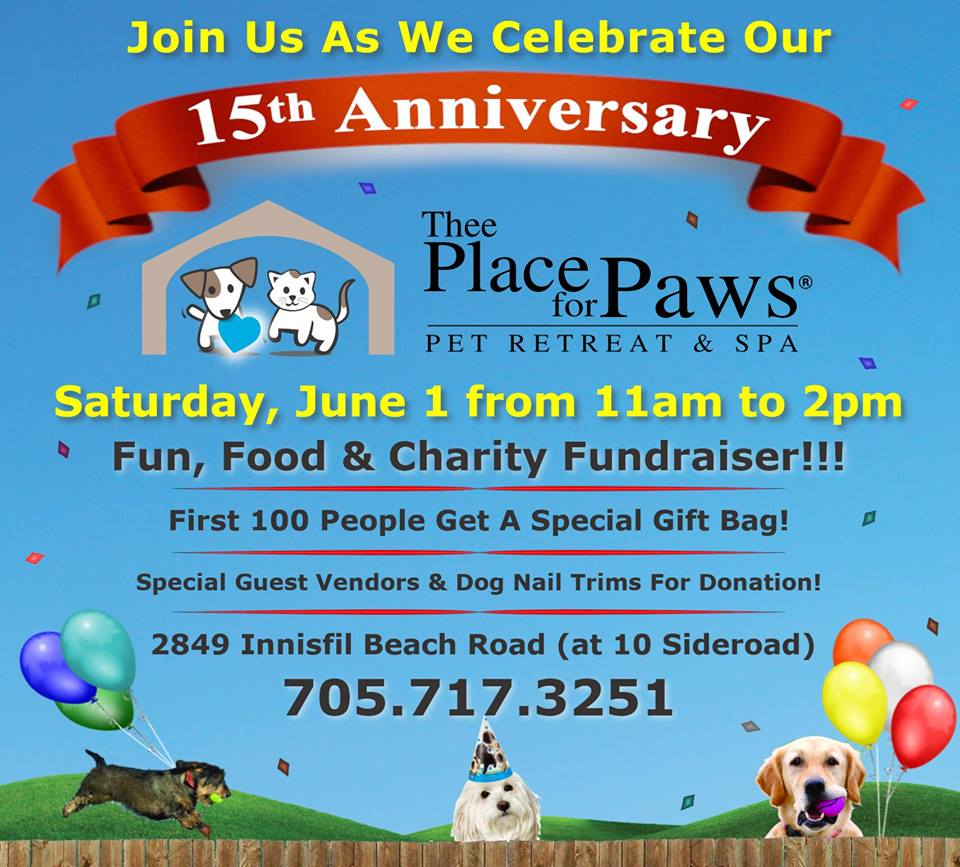 Thee Place for Paws 15th Anniversary Fun, Food & Charity Fundraiser!